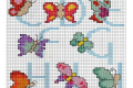 Punto croce: Alfabeto con le farfalle