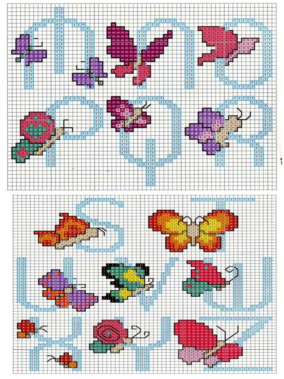 punto croce alfabeto con le farfalle