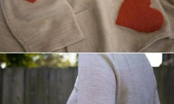 """Toppe"" in lana cotta a forma di cuore"
