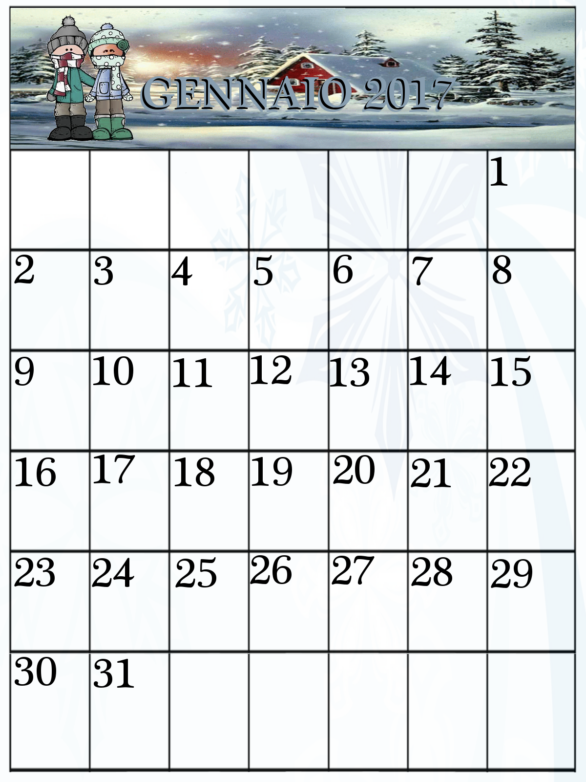Favoloso Calendari Gennaio 2017 da stampare | MAMMA E CASALINGA HU55