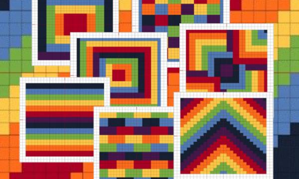 Punto croce: Piastrelle arcobaleno