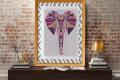 Punto croce: Testa di elefante in stile patchwork