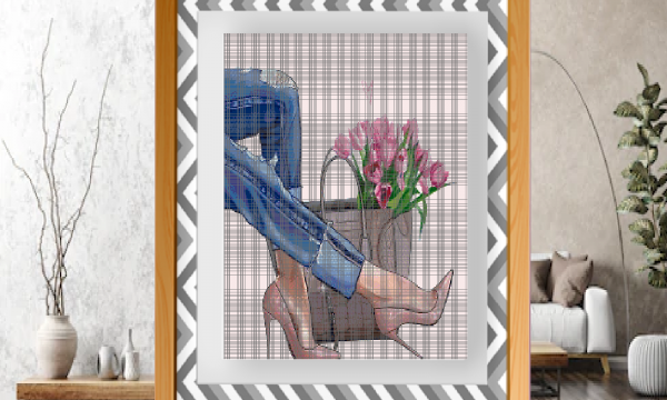 Punto croce: Jeans e tulipani