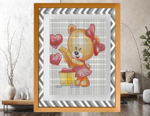 Punto croce: Una tenera orsetta