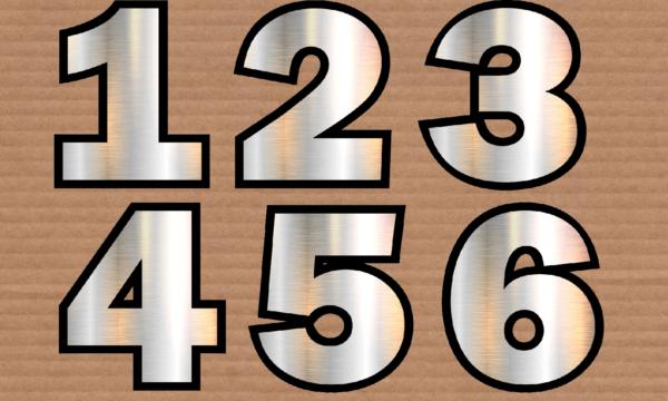 Decorazioni: numeri da 0 a 9 argentati