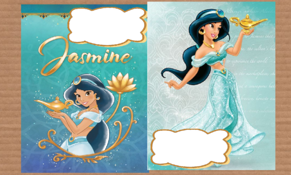 Tre copertine per quaderni dedicate alla Principessa Jasmine